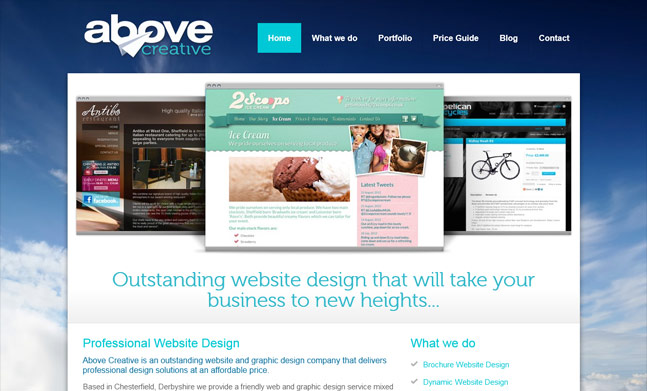 Above Creative Website Design designed by Above Creative