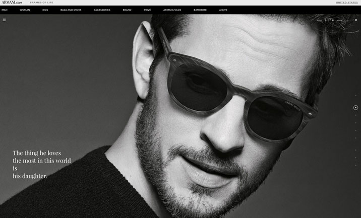 giorgio armani   frames of life designed by scozzese design