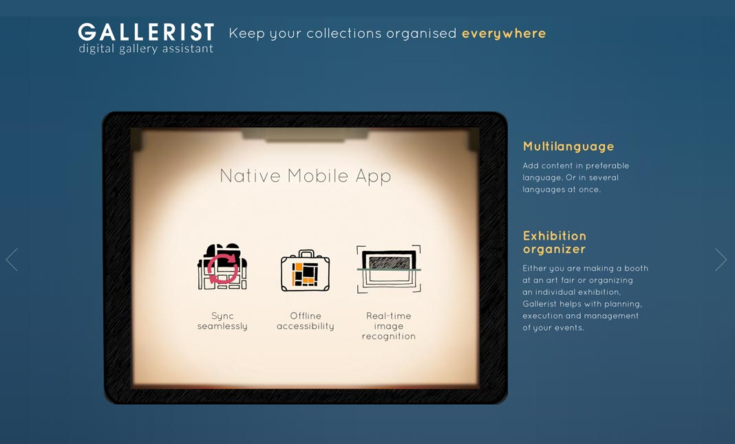 Gallerist Application website