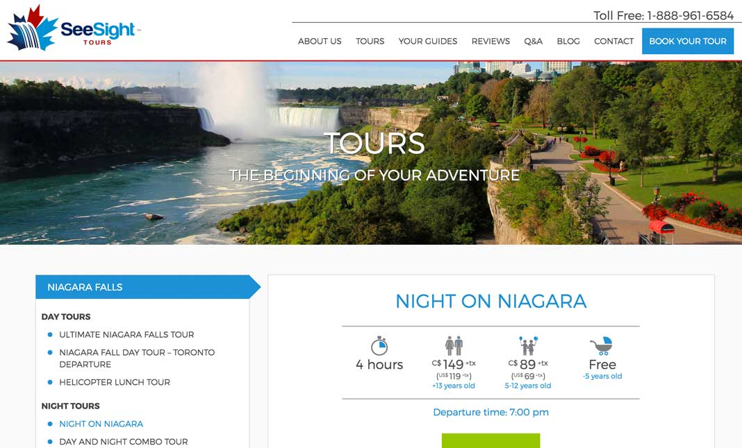 SeeSight Tours website