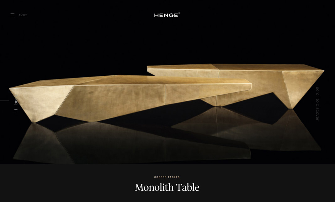 Henge Design Furniture website