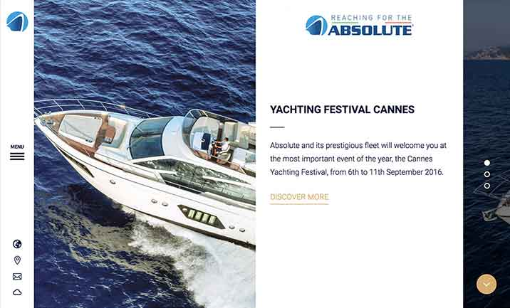 Absolute Yachts website