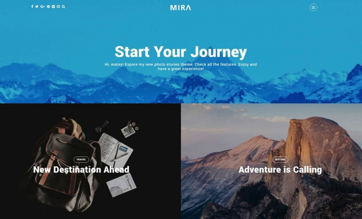 Mira Photo Blog Wordpress Theme website