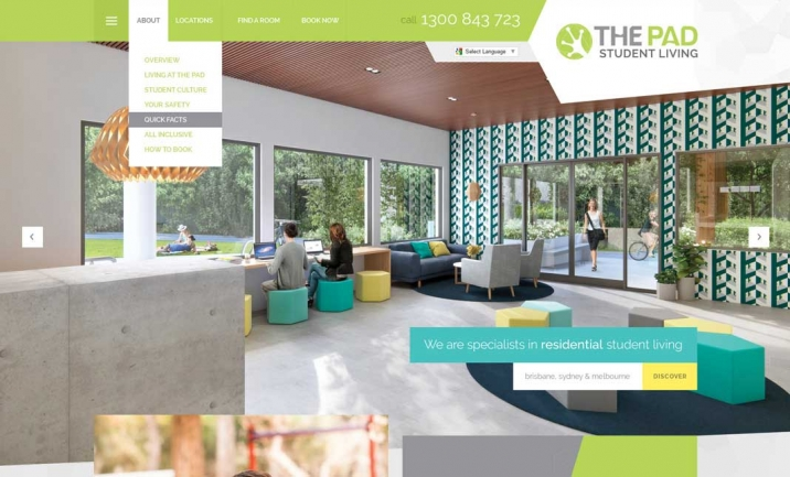 The Pad Student Living website