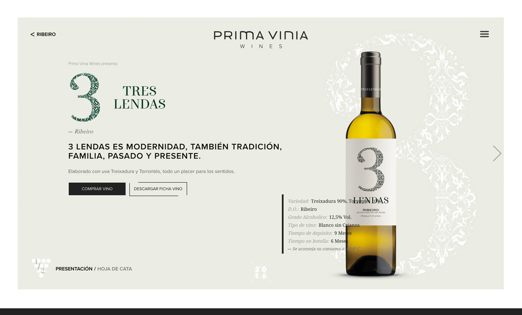 Prima Vinia Wines website