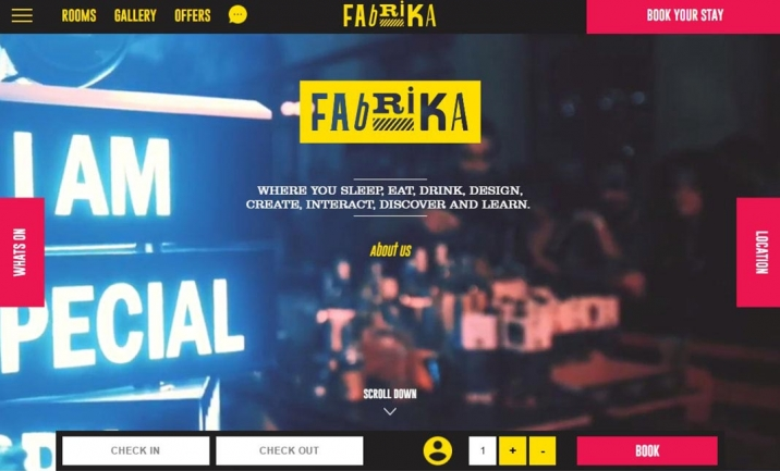 Fabrika Hostel website