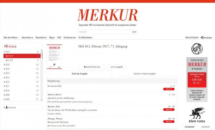 Merkur Magazine website