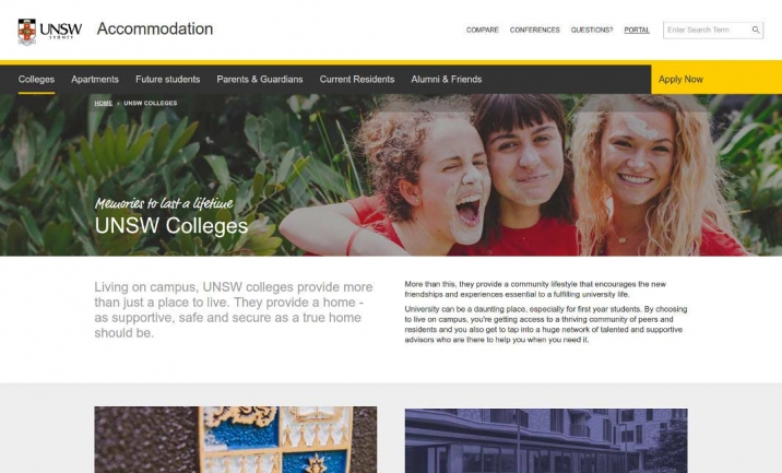 UNSW Accommodation website