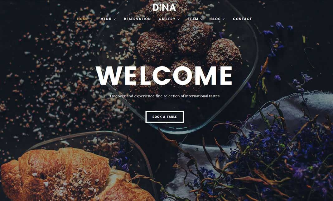 Dina Restaurant WordPress Theme website