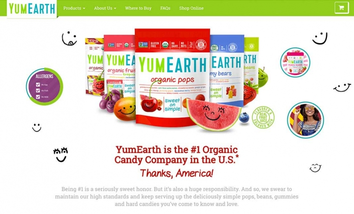 YumEarth Organic Candy website