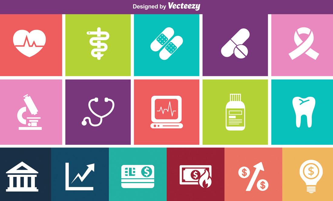 Free Health & Banking Icons Via Vecteezy
