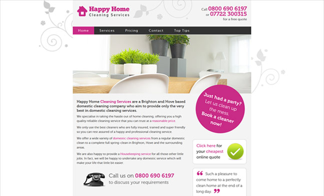 Happy Home Cleaning Services website