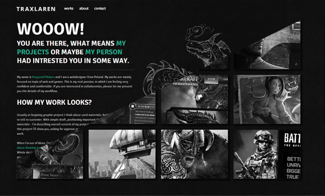 Traxlaren portfolio designed by krzysztof piskorz for Best art websites for artists