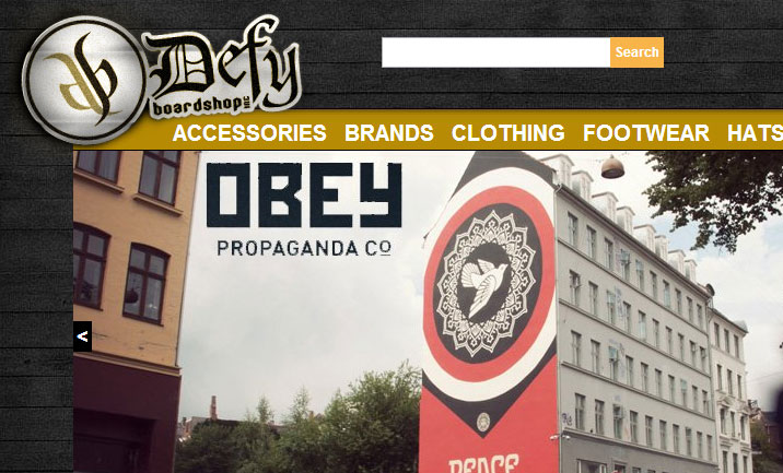 Defy Boardshop website