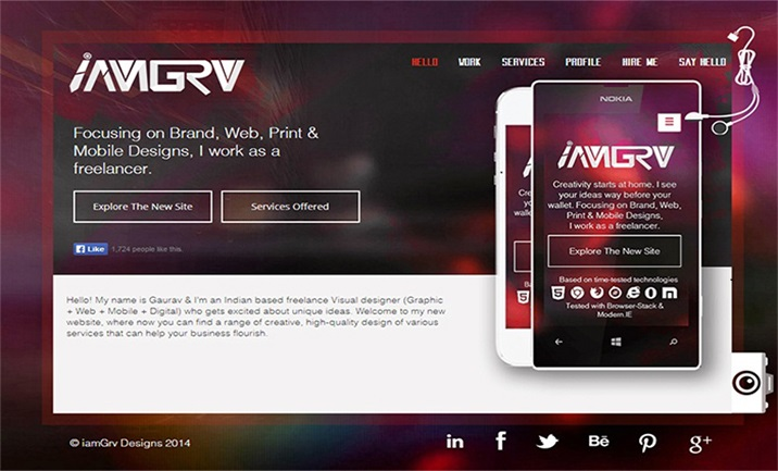 iamGrv Designs website