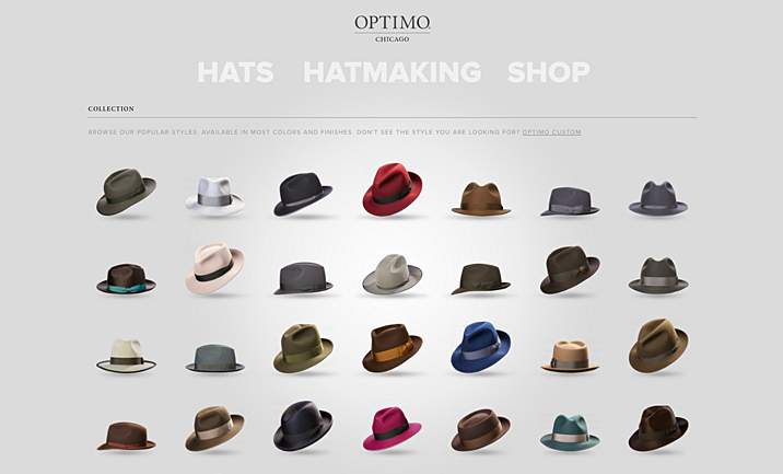 Optimo Hats website