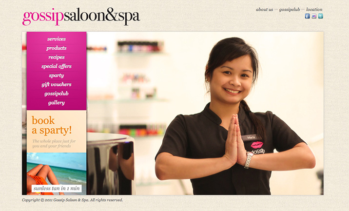 Gossip Saloon & Spa website