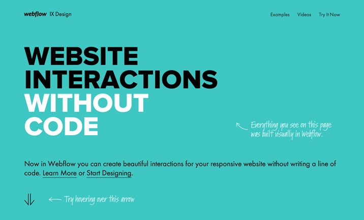 Webflow Interactions website