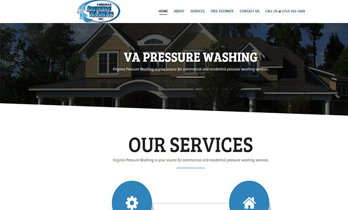 VA Pressure Washing Inc. website
