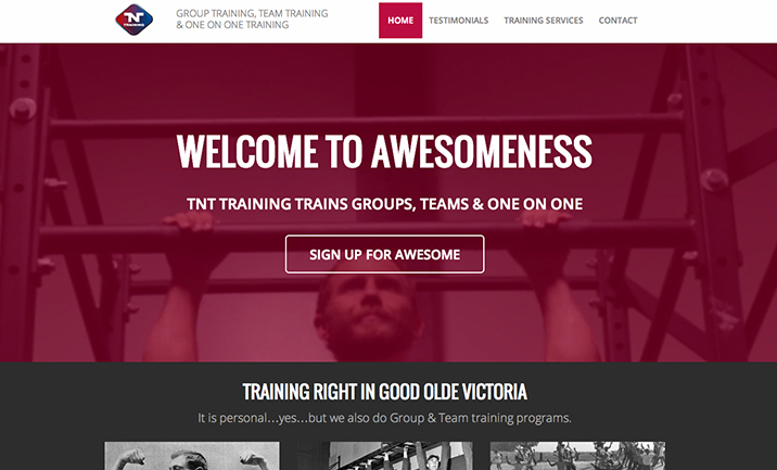 TNT Personal Trainers website