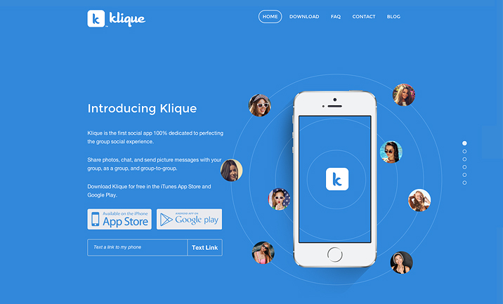 Klique Mobile App  website