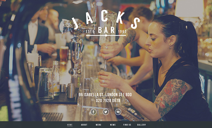 Jacks Bar website