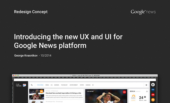 Redesign of Google News website