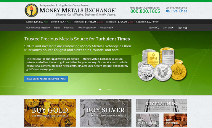 Money Metals Exchange Website
