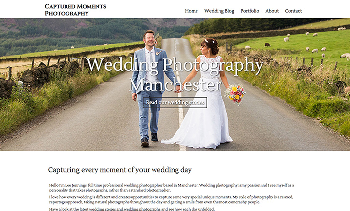 Captured Moments Photography website