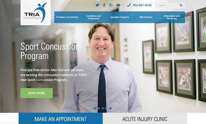 TRIA Orthopaedic Center website