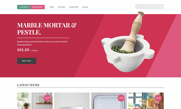 Celebrity Homeware website