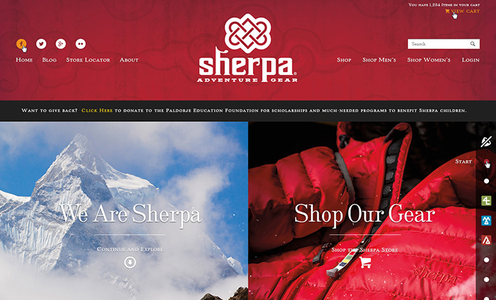 Sherpa Adventure Gear website