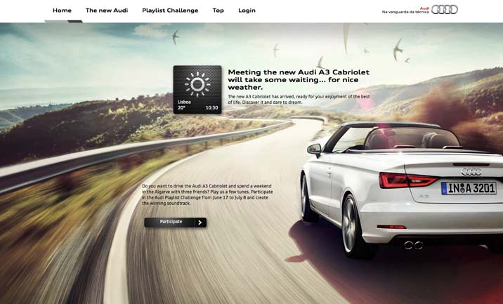 Audi A3 Cabriolet website