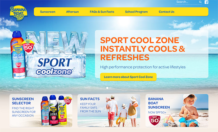 Banana Boat Sunscreen Australia website