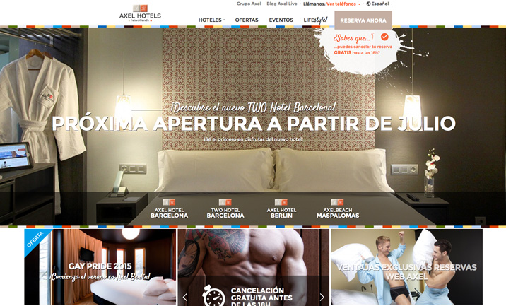 Axel Hotels website