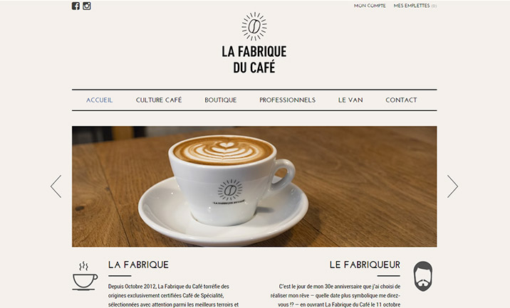 La Fabrique du Café website