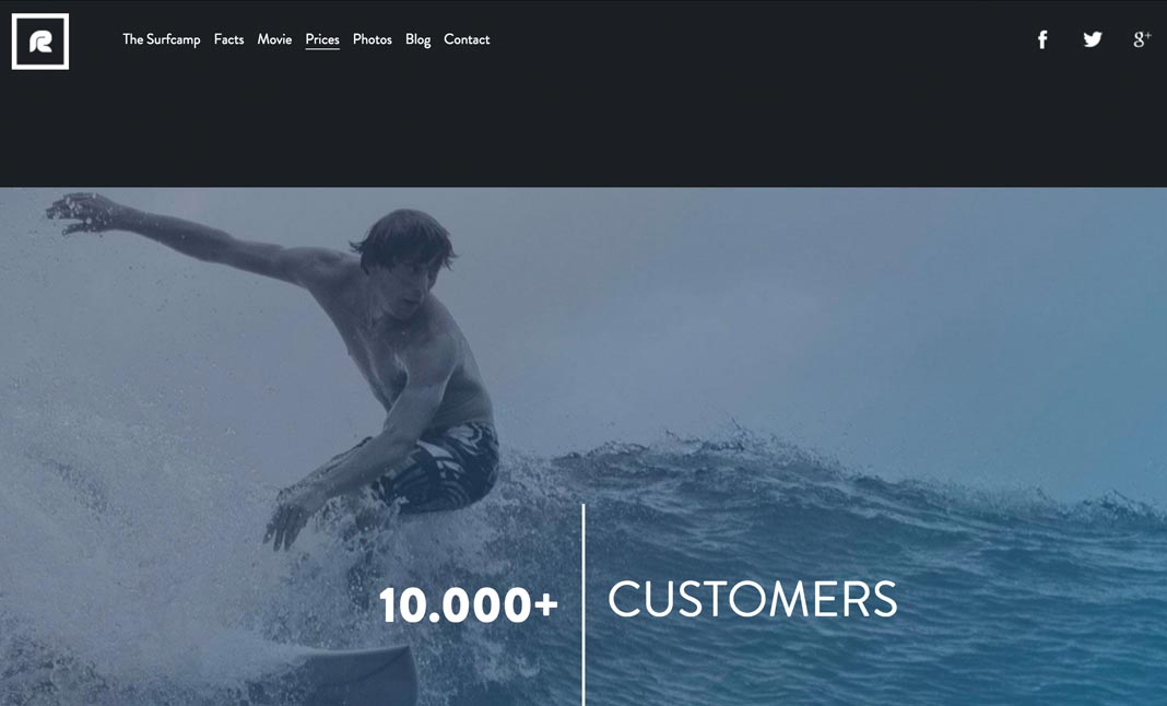 Rapture Surfcamps website
