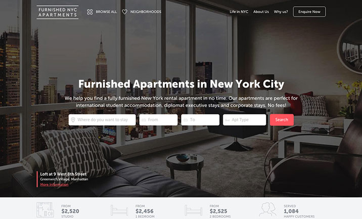 Furnished NYC Apartments website