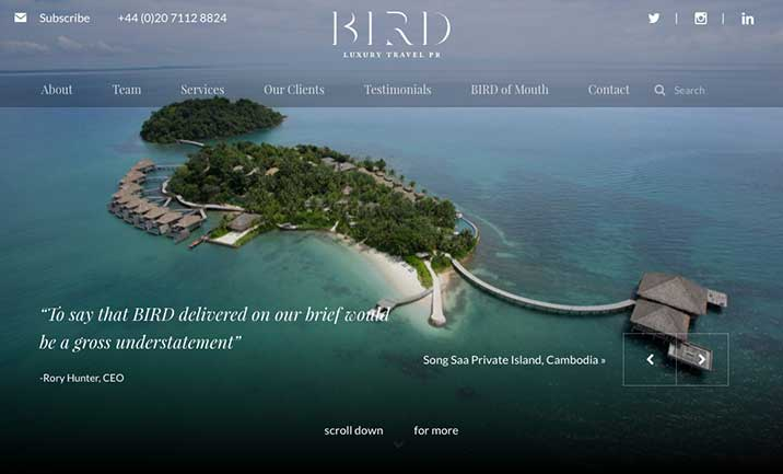 Bird Travel PR website
