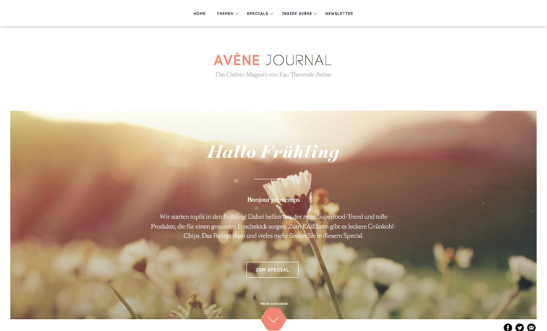 Avène Journal website