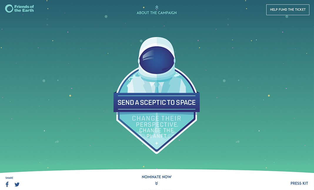 Send a Sceptic to Space website