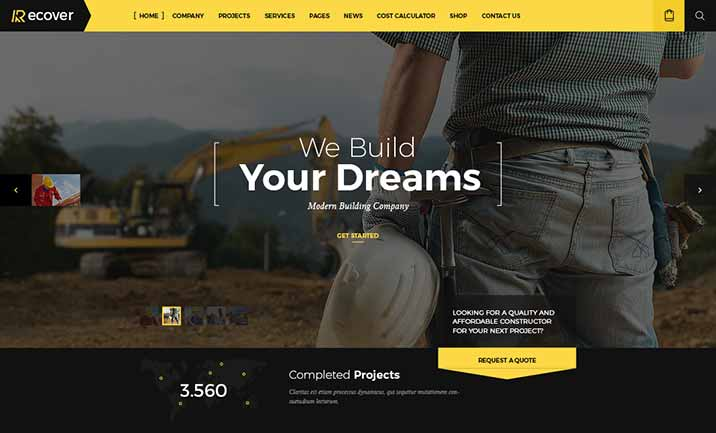 Recover - Construction WP Theme website