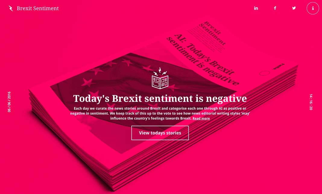 Brexit Sentiment Experiment website