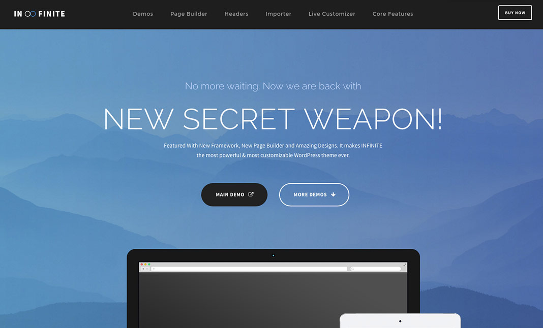 Infinite WordPress Theme website