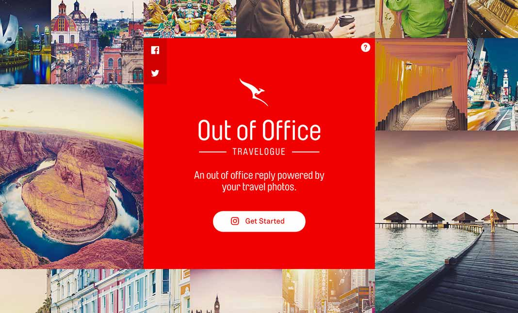 Qantas Out of Office Travelogue website