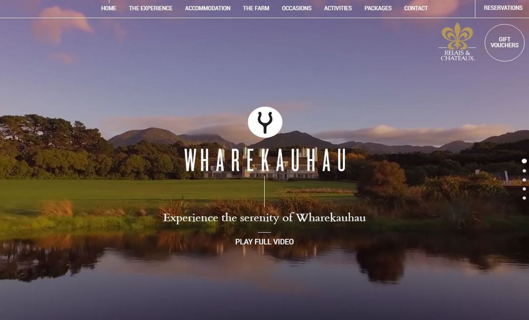 Wharekauhau Country Estate website