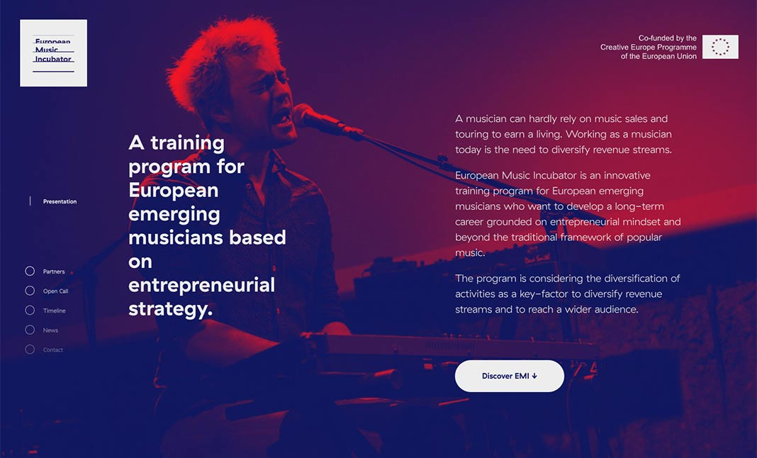 European Music Incubator website