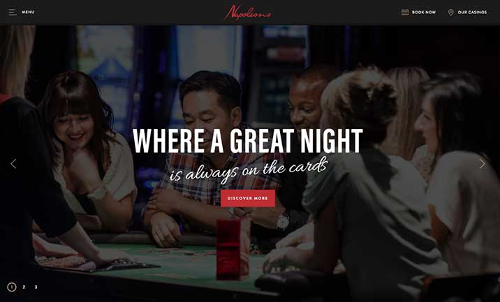 Napoleons Casinos & Restaurants website