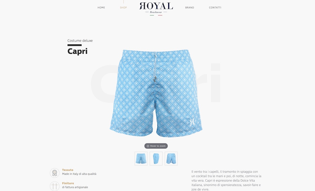 Royal Beachwear website