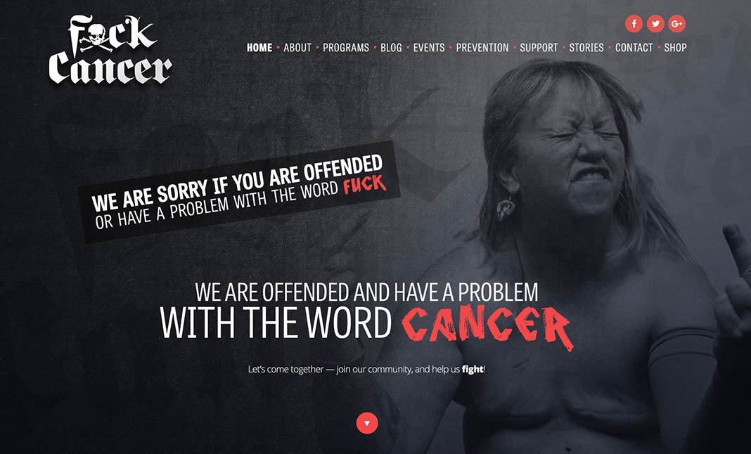 Fxck Cancer website